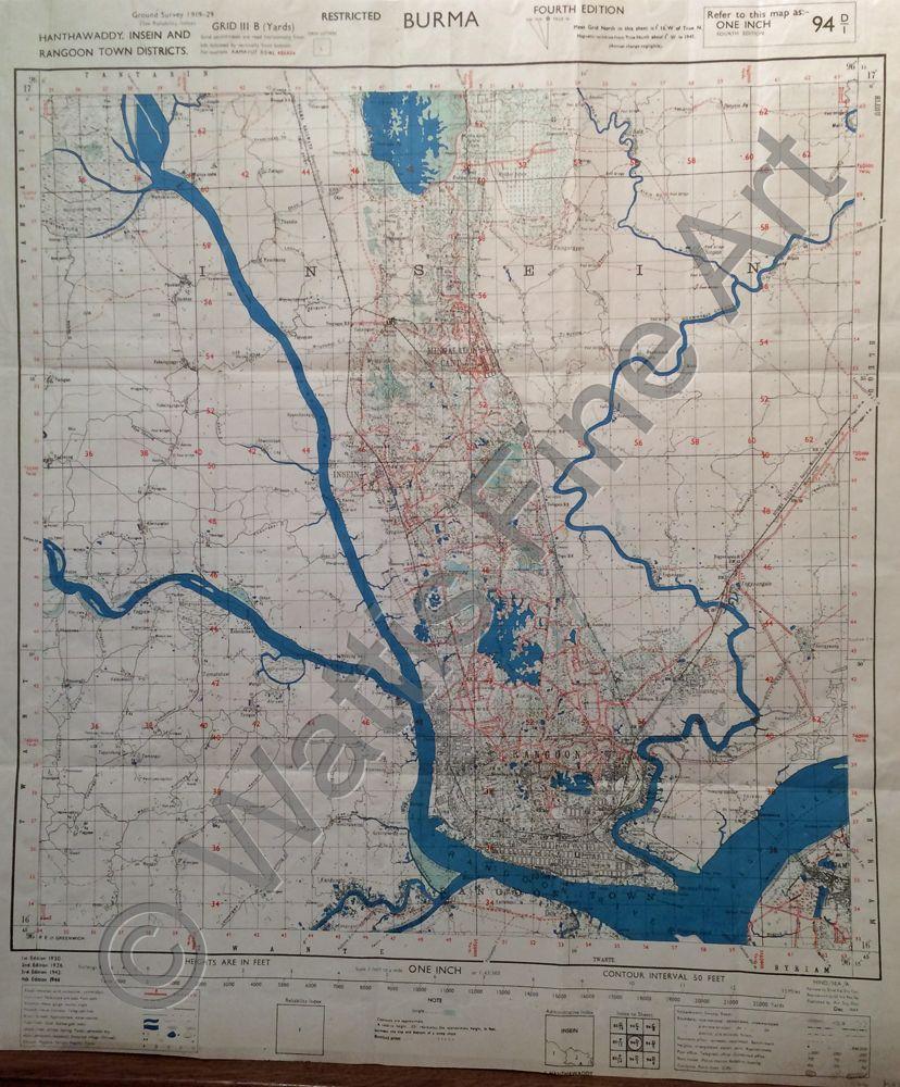WATTIS FINE ART GALLERY Maps Burma Hanthawaddy Insein and